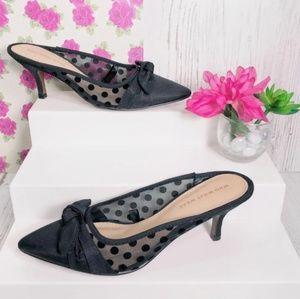 Who What Wear black bow pointed toe kitten heels